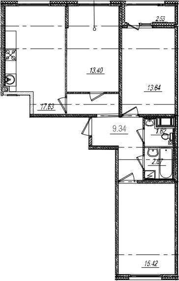 4Е-комнатная, 75.18 м²– 2