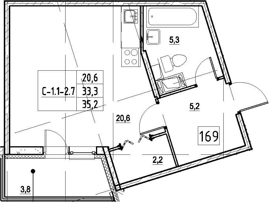 Студия, 35.2 м², 3 этаж