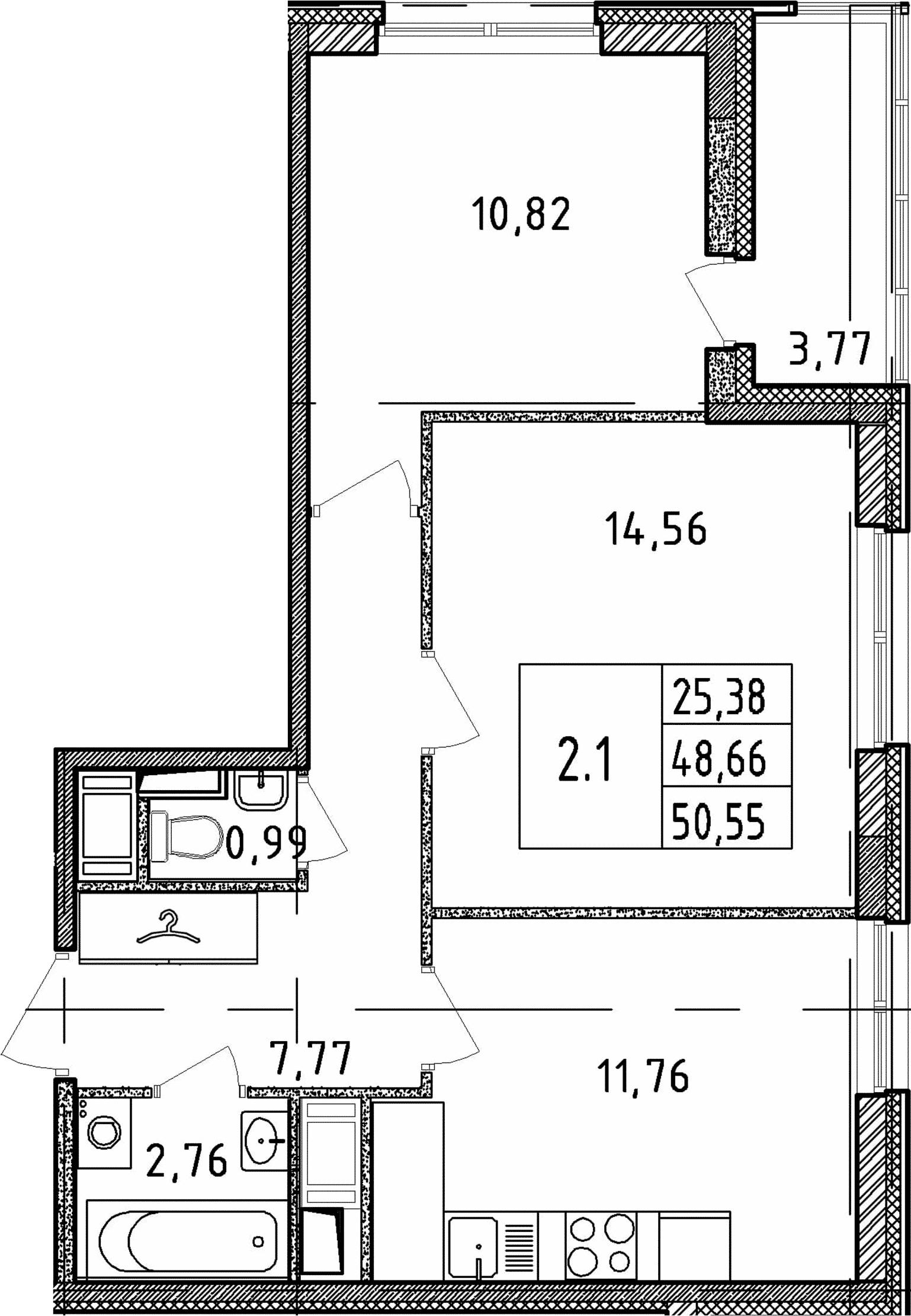 2-к.кв, 50.55 м²