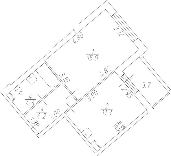 1-к.кв, 39.9 м²