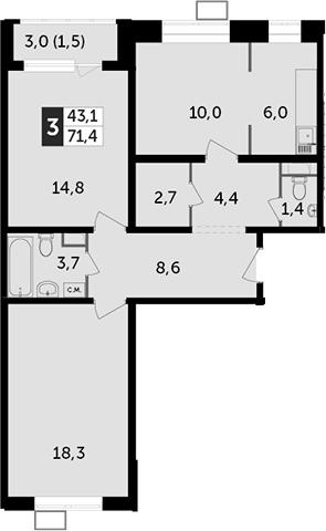 3Е-к.кв, 71.4 м²