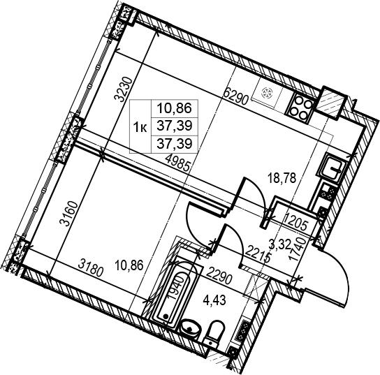 2Е-к.кв, 37.39 м²