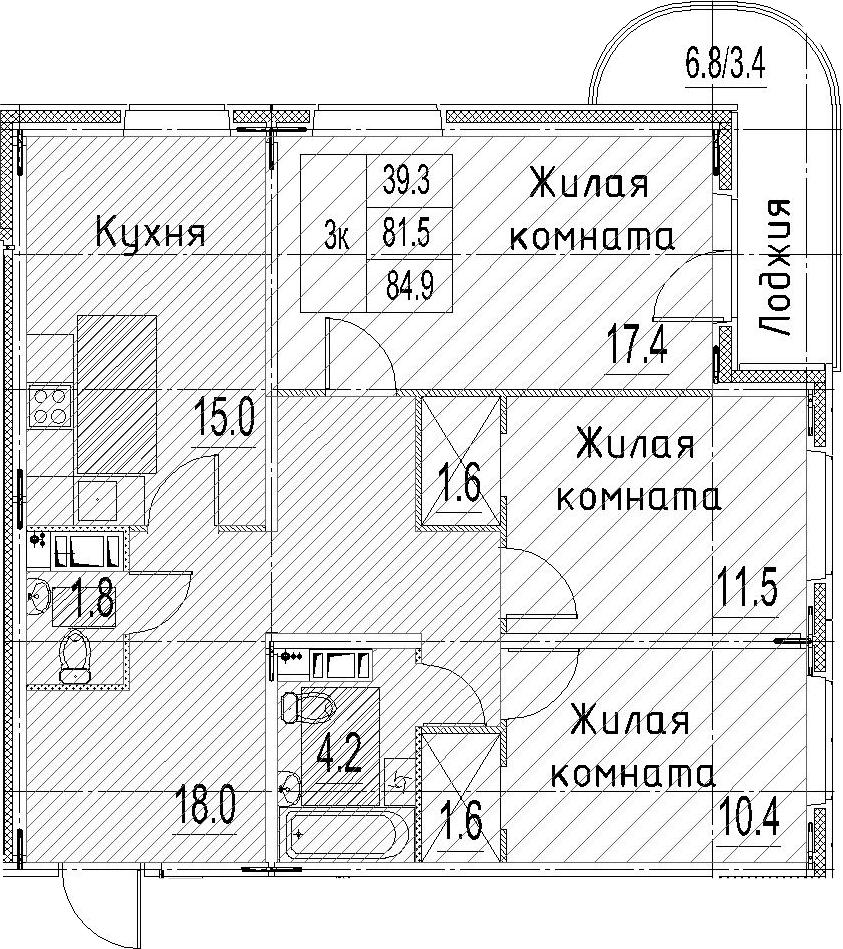 3-к.кв, 84.9 м²