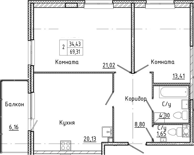 3Е-к.кв, 69.31 м²