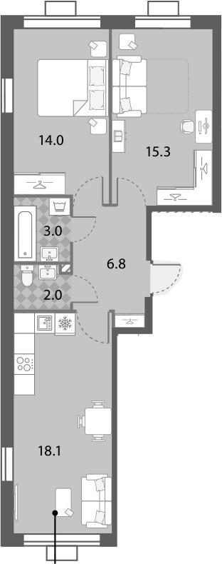 2-к.кв, 59.2 м², от 7 этажа