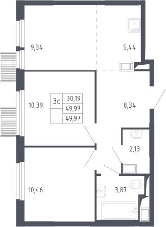 3Е-к.кв, 49.97 м²