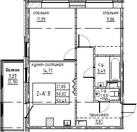 3-к.кв (евро), 58.52 м²