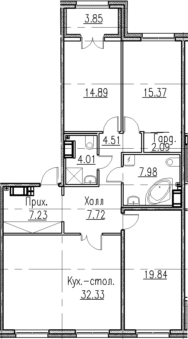 4Е-комнатная, 115.97 м²– 2