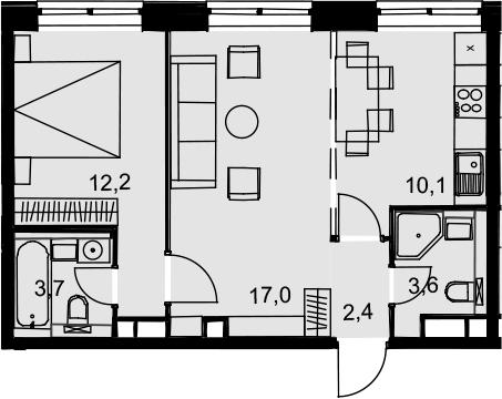 2-к.кв, 49 м²