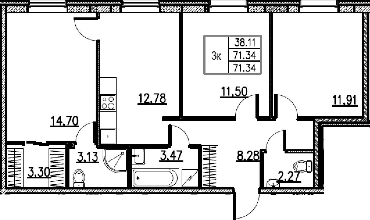 3-комнатная, 71.34 м²– 2