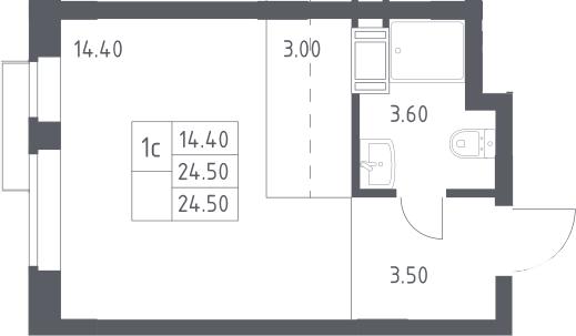Студия, 24.5 м², 13 этаж