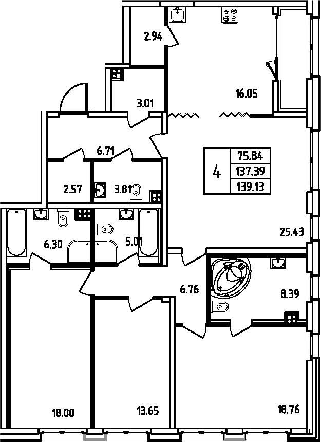 5Е-комнатная, 139.13 м²– 2