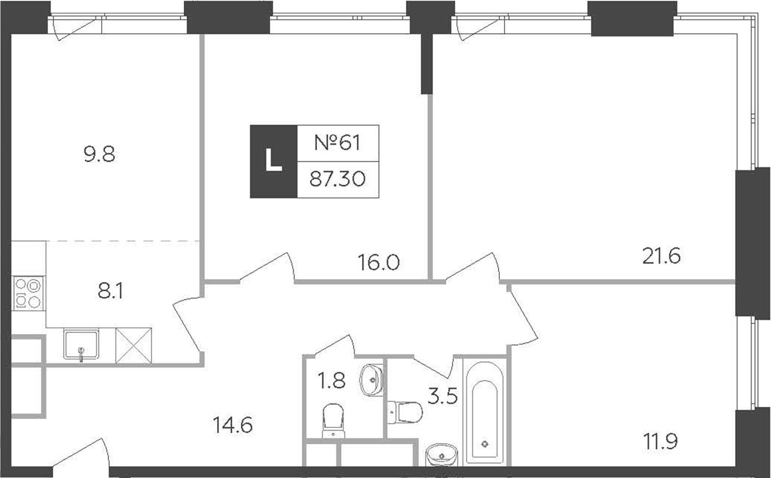 4Е-комнатная, 87.3 м²– 2