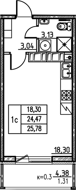 Студия, 24.47 м², 24 этаж – Планировка