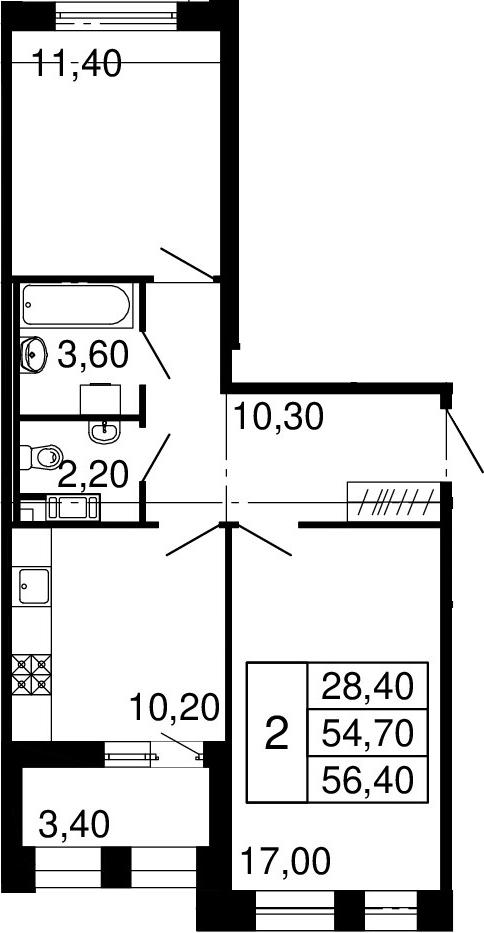 2-к.кв, 54.7 м²