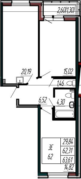 3-к.кв (евро), 64.91 м²