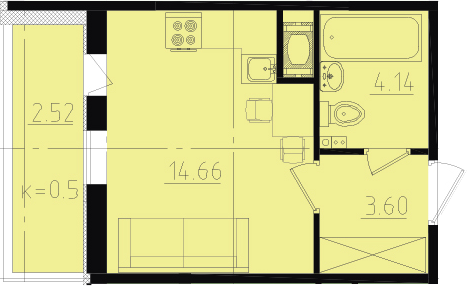 Студия, 24.92 м²