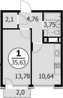 1-комнатная, 35.63 м²– 2