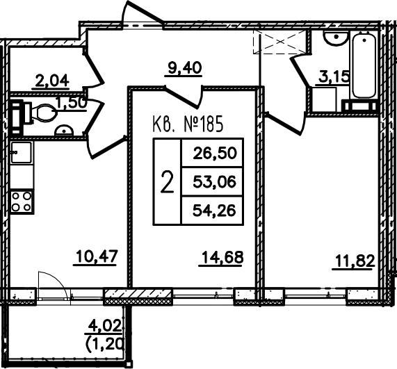 2-комнатная, 54.27 м²– 2