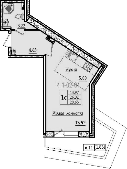Студия, 32.92 м²