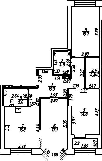 3-к.кв, 95.8 м²