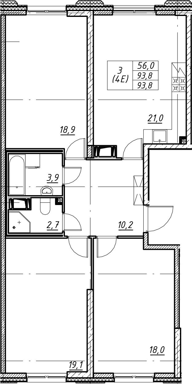 4Е-комнатная, 93.8 м²– 2