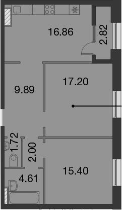 3Е-к.кв, 69.09 м²