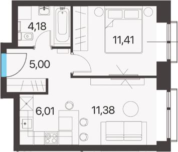 2Е-к.кв, 37.98 м², 4 этаж
