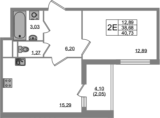 2Е-комнатная, 38.68 м²– 2