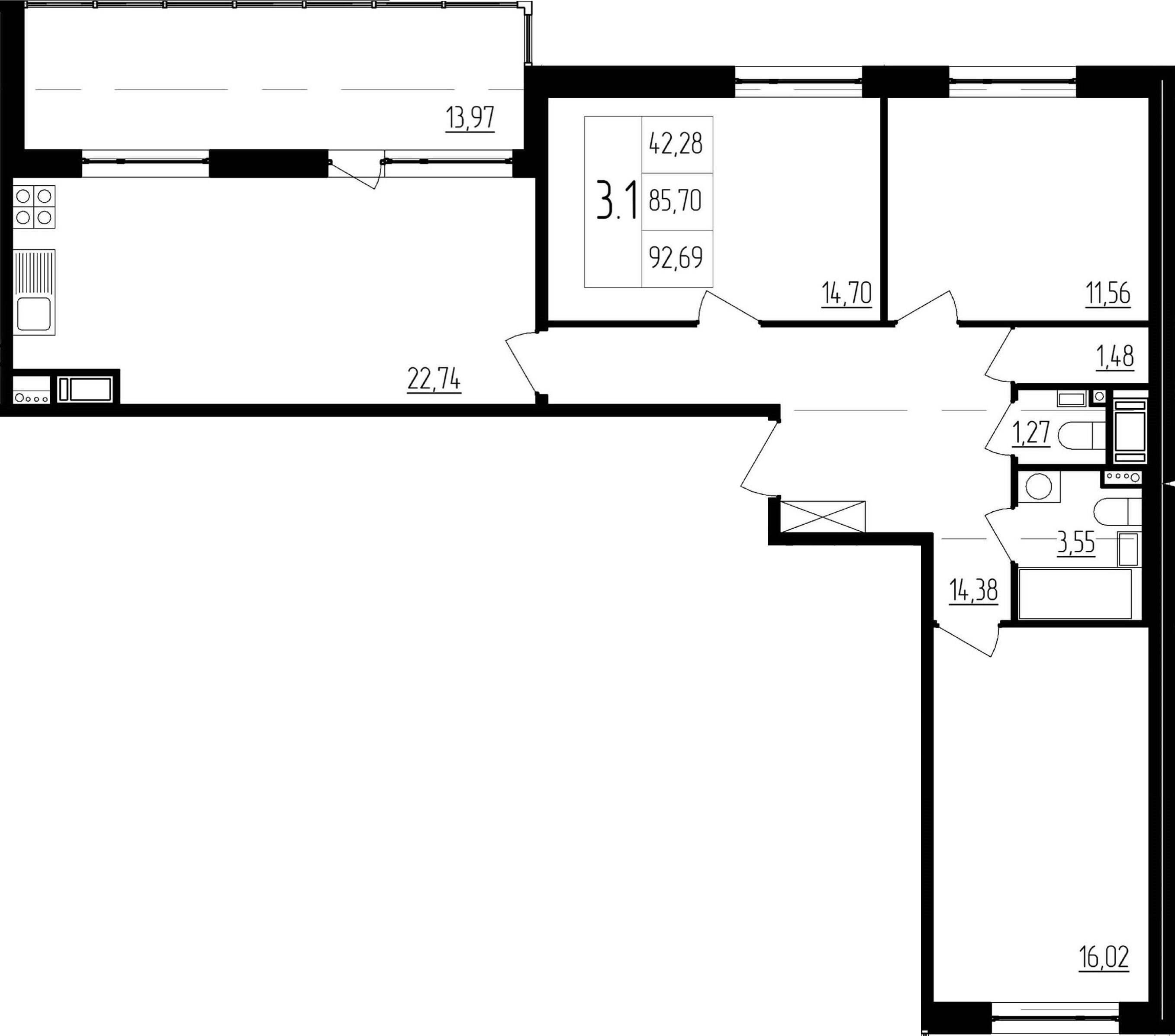 4Е-к.кв, 85.7 м²