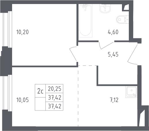 2Е-комнатная, 37.42 м²– 2