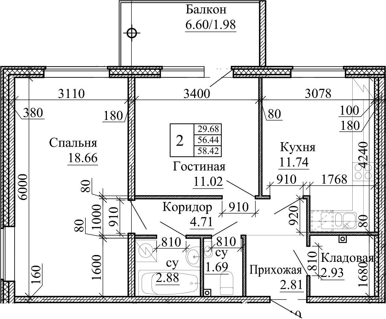 2-комнатная, 58.42 м²– 2
