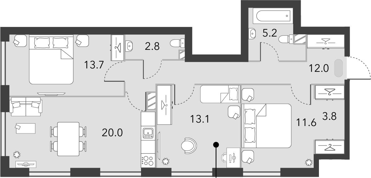 4Е-к.кв, 82.2 м², 4 этаж