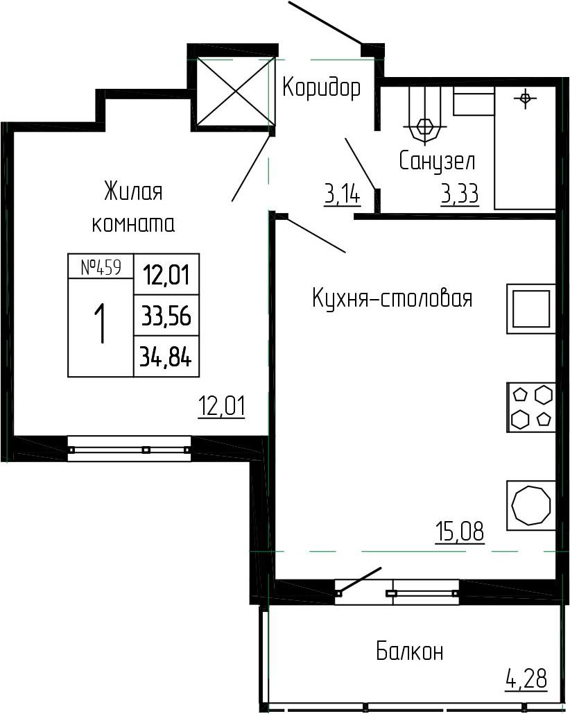 2-к.кв (евро), 37.84 м²