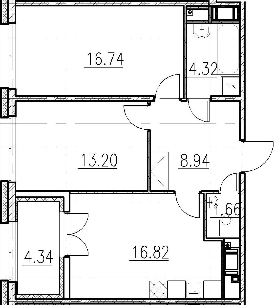 2-к.кв, 61.68 м²