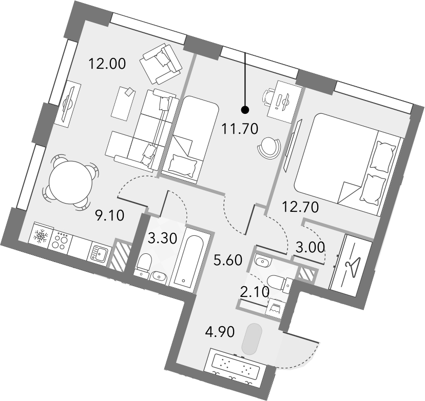3Е-комнатная, 64.4 м²– 2
