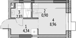 Студия, 17.03 м²– 2