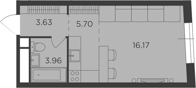 Студия, 29.46 м², 10 этаж