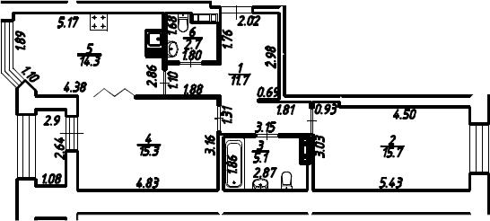 2-к.кв, 66.25 м², 11 этаж