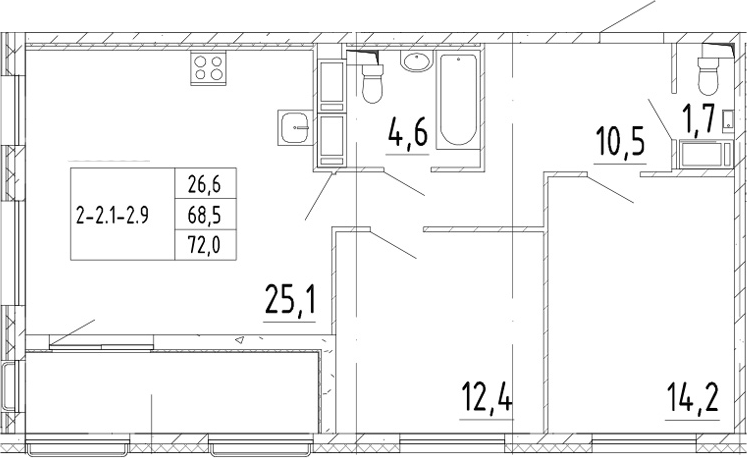 3Е-комнатная, 72 м²– 2