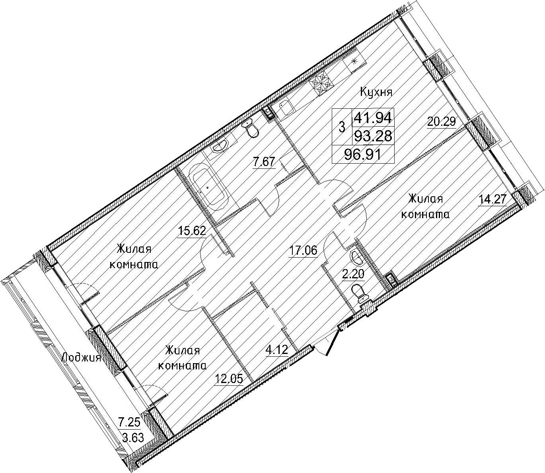 3-к.кв, 100.54 м²