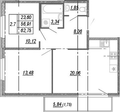 3Е-к.кв, 56.91 м², от 3 этажа