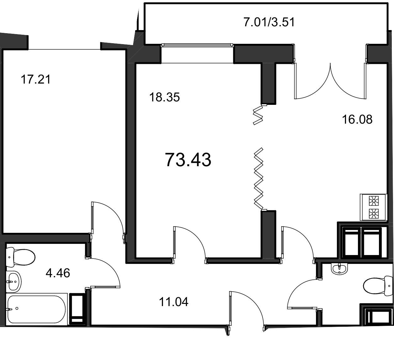 2-к.кв, 73.6 м²