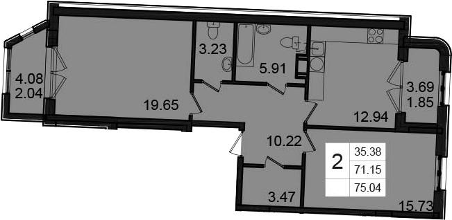 2-к.кв, 78.93 м²
