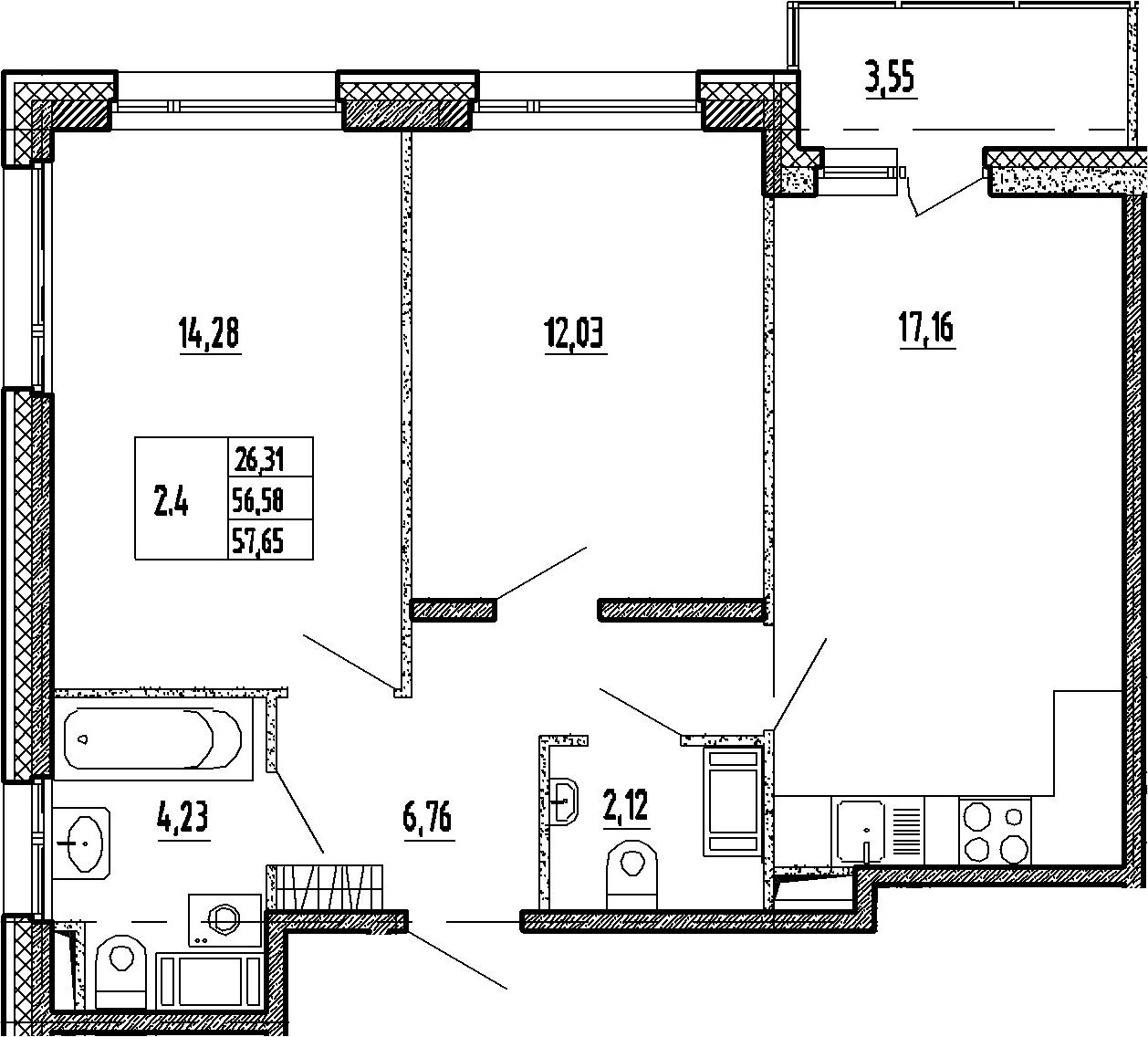 3Е-к.кв, 56.58 м², 14 этаж