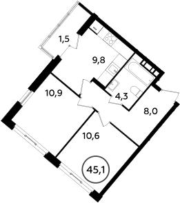 2-комнатная, 45.1 м²– 2
