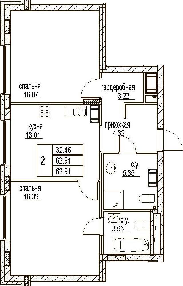 2-комнатная, 62.91 м²– 2