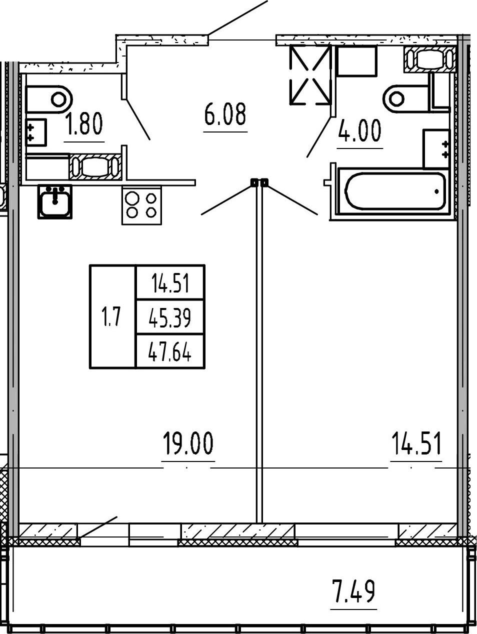 2Е-комнатная, 45.39 м²– 2