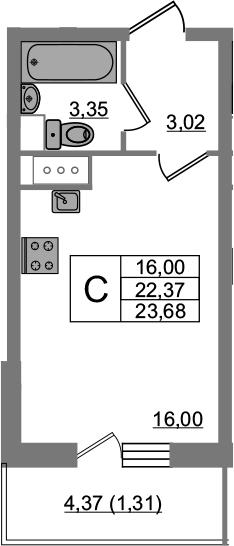 Студия, 23.68 м², 14 этаж