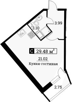 Студия, 30.86 м²